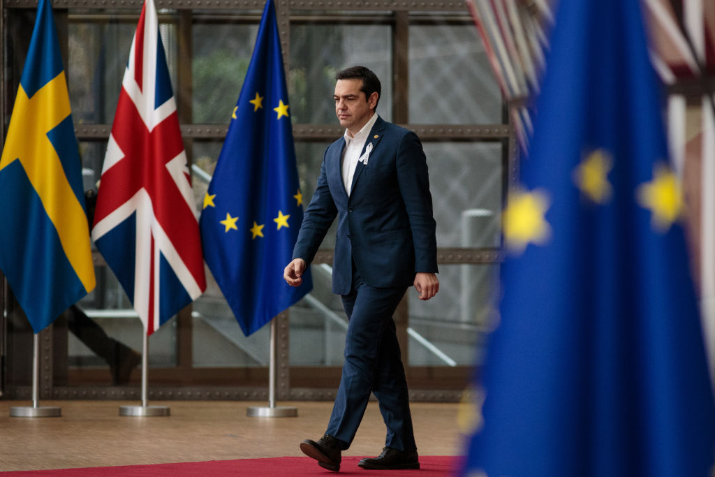 BRUSSELS, BELGIUM - MARCH 22: Prime Minister of Greece, Alexis Tsipras arrives at the Council of the European Union for the first day of the European Council leaders' summit on March 22, 2018 in Brussels, Belgium. European Union leaders meet today for the two-day European Council. The agenda will include discussion on the recent nerve agent attack in Salisbury, which the UK holds the Russian state responsible, and US President Donald Trump's announcement on tariffs for steel and aluminium imports. The proposed Brexit transition deal between the European Union and the United Kingdom is also expected to be approved.(Photo by Jack Taylor/Getty Images)